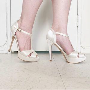 David Tutera white satin platform heels